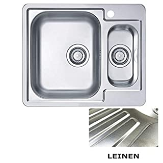 VBChome Built-in Sink with Tap Hole 615 x 500 mm Camping Kitchen Sink - Linen Structure Alveus Line 50 Sink Stainless Steel Camping 1.5 Basin Drain Fitting, Silver