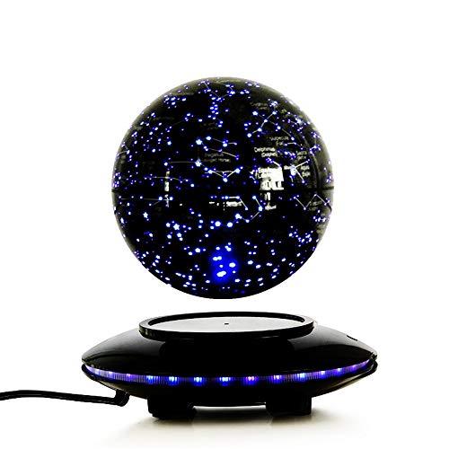 LERDBT Globus Für Schreibtischdekoration 6 Zoll Floating Globe Mit LED-Leuchten Levitation Floating Globe Weltkarte (Schwarz, 6 Zoll) (Acryl-globus-leuchte)