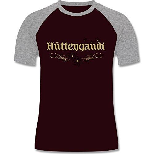 Après Ski - Hüttengaudi - zweifarbiges Baseballshirt für Männer Burgundrot/Grau meliert