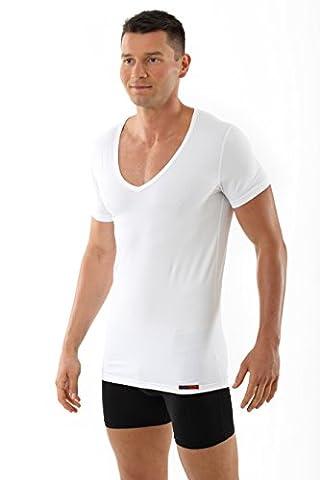 ALBERT KREUZ men's white business deep-V undershirt with short sleeves made of soft and light stretch-cotton XXL