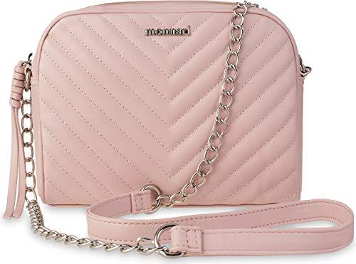 f3bec35f206cd Monnari kleine gesteppte Schultertasche Damentasche mit Kettenriemen  puderrosa