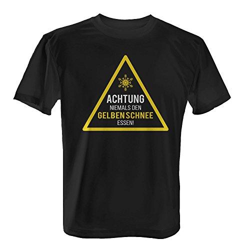 Fashionalarm Herren T-Shirt - Achtung, niemals den gelben Schnee essen | Fun Shirt mit lustigem Motiv für Winter Urlaub Sport & Apres Ski Party Schwarz