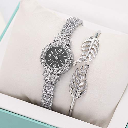 LABIUO Damen Armbanduhr, Luxus Analog Quarz Kristall Diamant Temperament Uhr Mode Blatt Armband Set Kette Armbanduhr für Geburtstagsgeschenk(D,Einheitsgröße)