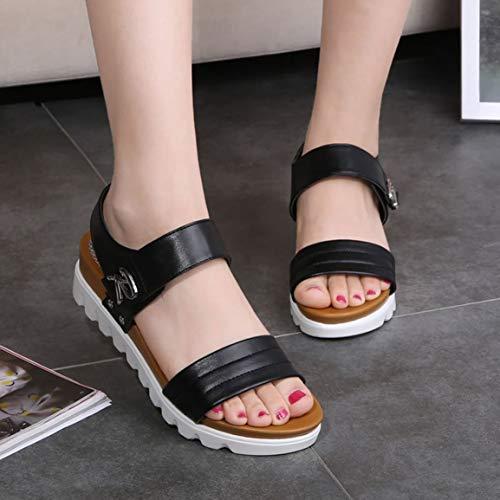 Garciadia Sommer Frauen Hohe Plattform Sandalen Mode Keile Sandalen Komfortable Damen Schuhe Offene Spitze High Heel Wedges Sandalen (Farbe: schwarz) (Größe: 40) (Easy Home Kostüm Frauen)