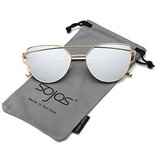 SOJOS Katzenauge Metall Rand Rahmen Damen Frau Mode Sonnenbrille Verspiegelt Linse Women Sunglasses SJ1001 mit Gold Rahmen/Silber Linse