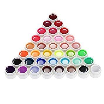 Anself 36 Couleur Nail Art Pigment Fixé UV Gel Polish Solide Colle