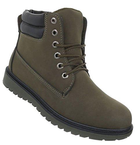 Herren Schuhe Boots Schnürer Stiefeletten Olive