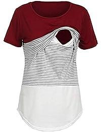 Premamá Invierno Leggins Abrigos Camisa Blusa De Manga Corta con Cuello Redondo A Rayas De Maternidad para Mujeres