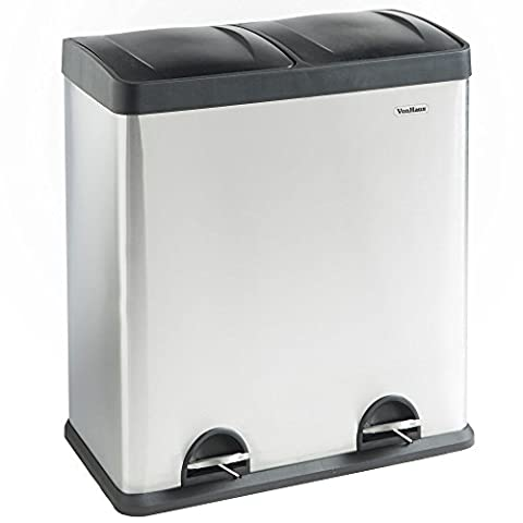 VonHaus Recycling Bin with Lids for Kitchens | 60 Litre Capacity | 2 Compartments & Stickers