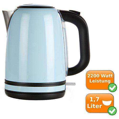 Retro Wasserkocher aus rostfreiem Edelstahl, 1,7Liter Fassungsvermögen, 2200Watt, pastell-blau