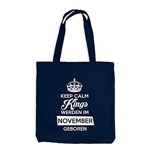 Jutebeutel - Keep Calm Kings werden im November geboren - Birthday Geburtstag Navy