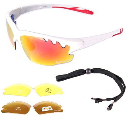 e2a4c00d1b Rapid Eyewear hombres y mujeres 'Ice' GAFAS DE SOL DEPORTIVAS BLANCA lentes  intercambiables comprenden