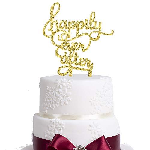 Happily Ever After Tortenaufsatz Acryl Tortenaufsatz, für Liebe Hochzeit Jahrestag Verlobung Brautschmuck Dusche Party Schild Dekoration Gold