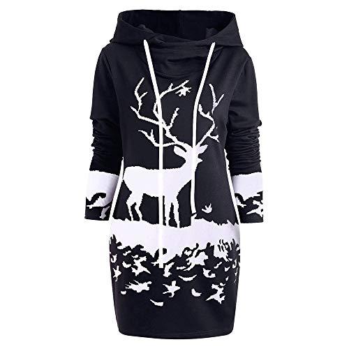BaZhaHei Sweat-Shirt Robe de Noël Femmes, Mini-Robe à Cordon Capuchon imprimé de Renne de Noël Monochrome Femme(A-Noir,M)