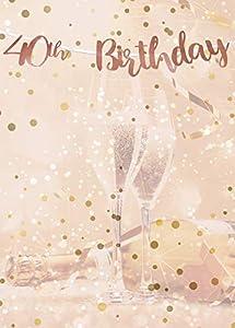 Alandra Cumpleaños BUNT-40 40 cumpleaños Oro Rosa metálico Bunting, Crema y Rosa, Talla única