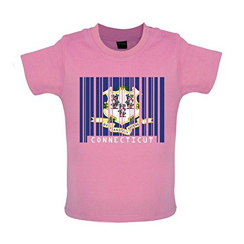 connecticut-connecticut-drapeau-code-barre-t-shirt-bb-rose-18-24-mois