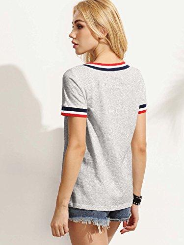 Romwe Damen Sportlich T-Shirt V Ausschnitt Kurzarm Top Grau