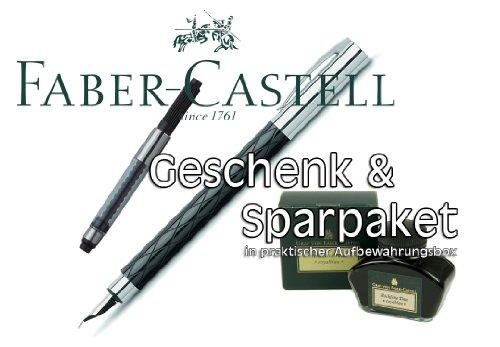 Faber Castell AMBITION Edelharz 'Rhombus' Füllfederhalter Stärke B + Konverter + Tintenglas...