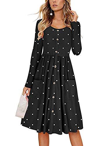 Lrud - Vestido - Trapecio o Corte en A - Lunares - para Mujer Negro Negro (XL