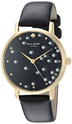 kate spade New York Women's 'Metro' Quartz Stainless Steel and Leather Casual Watch, Color:Black (Model: KSW1395)