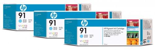 HP 91/C9486A/ TINTENPATRONE CYAN HELL (775 ml) 3-Pack -