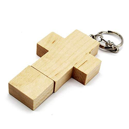 Creativo di legno dell'acero flash drive usb 2.0 a forma di croce pen drive con portachiavi