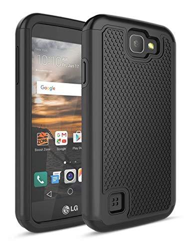 LG K3Fall, bis [Stoßdämpfung] Drop Schutz Dual Layer Hybrid Gummi Kunststoff Impact Defender Rugged Slim Hard Case Cover für LG K3Boost Mobile/Virgin Mobile LS450, schwarz/schwarz