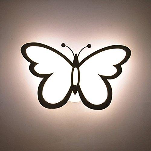 WYQLZ Chambre Chevet LED Creative Papillon Mur Lampe Salon Fond Mur Escaliers Couloir Enfants Chambre Plafond Décoration Nuit Lumière Trois-couleurs Gradation 28 W