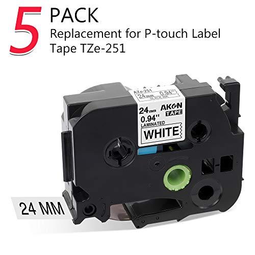 Kompatibel Brother P-touch Schriftband TZe-251 TZ-251 24mm schwarz auf weiß, Kostengünstig Schriftbandkassette für Beschriftungsgerät Ptouch P700 2430 D600 9700PC P750W, 5er-Packung