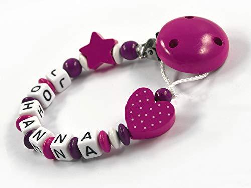 Schnullerkette mit Namen für Mädchen Stern Herz - dunkelpink, beere, weiß (7 Buchstaben)
