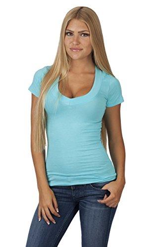 Hollywood Star Fashion, maglietta da donna, con profondo scollo a V, a maniche corte Acqua