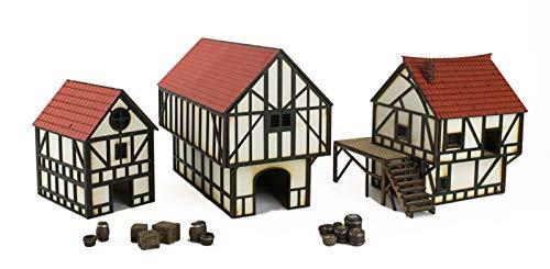 War World Gaming Medieval Town Cottage, Bürgerhaus und Scheune Set mit Harz-Zubehör (Vorbemalt/Unbemalt) - 28mm Fantasie Tabletop Gelände Modell Modellbau - Tabletop Gaming