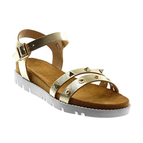 Angkorly Chaussure Mode Sandale Lanière Cheville Semelle Basket Femme Perforée Clouté Grainé Talon Plat 4 cm Or