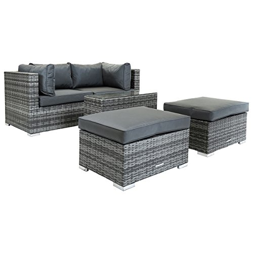 Charles Bentley 2/3 Seater Multi-Use Rattan Lounge Set Love Seat Footstool Grey