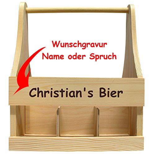 Geschenkissimo Bierträger aus Holz mit Gravur - mit Name oder Spruch - stabil + hochwertig, Männerhandtasche für Bier zum Camping, Grill, Fußball, Feiern - Männergeschenk zum Geburtstag, Vatertag