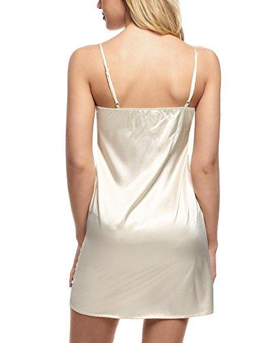 Nachtkleid Pagacat Damen Sexy Satin Kleid VAusschnitt Nachthemd mit ...