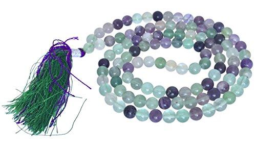 Handgefertigte Multi Fluorit Jaap Mala 108 Perlen - Einfluss Herz, Hals, drittes Auge Chakra authentische natürliche Edelsteine   Halskette Quaste handgefertigt ethisch aus Indien in Geschenkbox