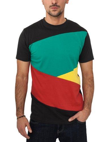 Urban Classics - Bekleidung Zig Zag Tee, Maglia a maniche lunghe Uomo, Multicolore (Blk/rasta), Large (Taglia Produttore: Large)
