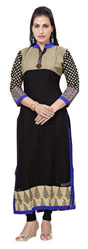 Carrel Georgette Fabric Women Long kurti(2060-KT-BLUE-XXL)