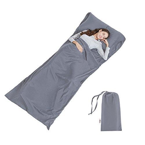 URBAN HABITAT Sac De Couchage Doublure, Microfibres Sac De Couchage Idéal pour Auberges Refuges Voyage Hôtel Camping (Gris, 90cm W x 220cm L)