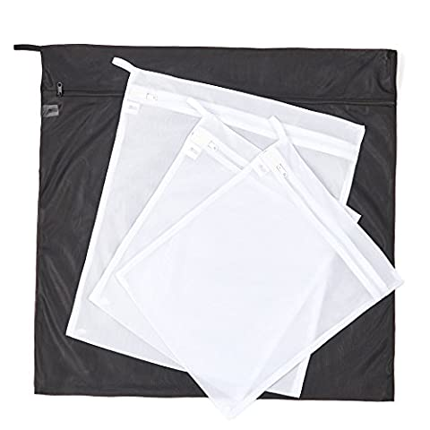 EZOWare Set of 4 Laundry Washing Bags Mesh Durable Zipped Storage Wash Bag for Clothes and Delicates – Black and White ( Small x2, Medium x1, Large