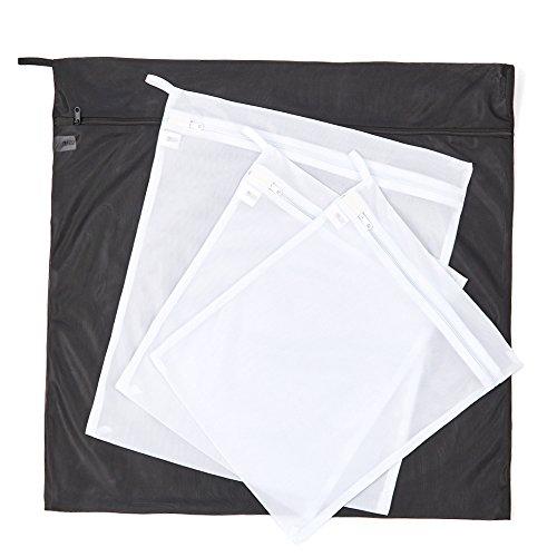 EZOWare 4er Wäschenetz - Doppelschicht Wäschebeutel für Wäscherei Waschmaschine in 3 Größen - Schwarz / Weiß (Strumpfwaren Seide)