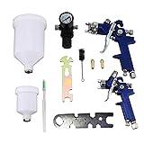 Functy HVLP de aire por gravedad la pintura de aerosol del arma Set W / 2 pulverizador de pintura de la boquilla de 0,8 mm + 1,4 mm