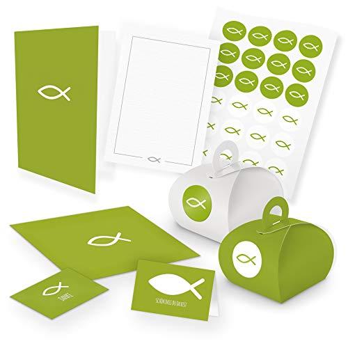 itenga Set Fisch 24x Gastgeschenkboxen mit Griff 24x Danksagung 24x Tischkarte 12x Klappkarte A6 12x Postkarte Kommunion Konfirmation Taufe Einladung (grün)