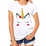 Dinglong Womens Casual Short Sleeve T-Shirt Ladies Teen Girls Cute Unicorn Printing Tee Tops (XL/UK Size 12-14, White-A)