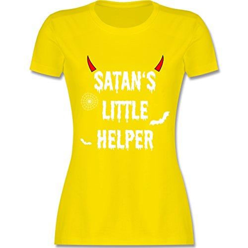 hsene - Satan's Little Helper - Halloween - Teufel - Hörner - Fledermaus - L - Lemon Gelb - L191 - - Tailliertes Premium Frauen Damen T-Shirt mit Rundhalsausschnitt (Teufel Hörner L)