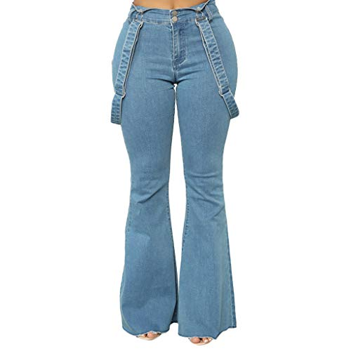 Watopi Damen hohe Taille Trägerhose Reißverschluss Jeans Knopfleiste Hosen Hosen Bell-Bottom-Hosen Slim Jeans - Hohe Bell-bottom-jeans Taille