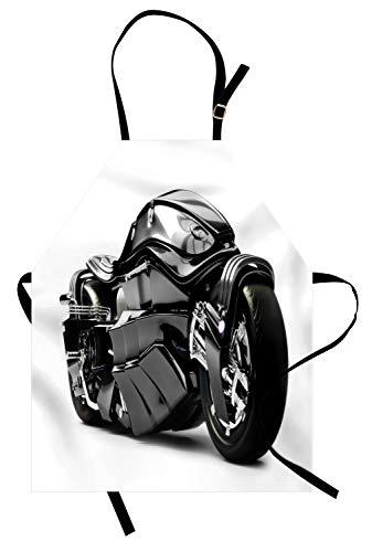 ochschürze, Futuristische Motorrad-Bild-Hightechs-einzigartige Moderne Lebensstil-Grafik, Farbfest Höhenverstellbar Waschbar Klarer Digitaldruck, Schwarz ()