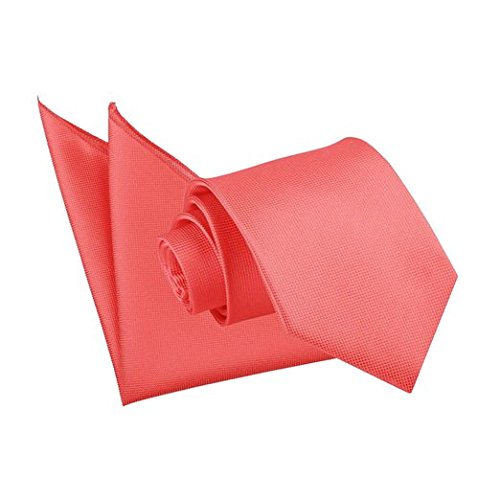 new-dqt-solid-check-coral-mens-tie-and-hanky-set