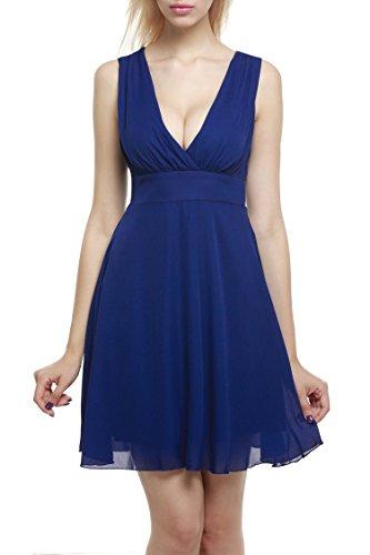 Zeagoo Damen V-Ausschnitt Brautjungfernkleid Partykleid Abschlusskleider Falten Kleid